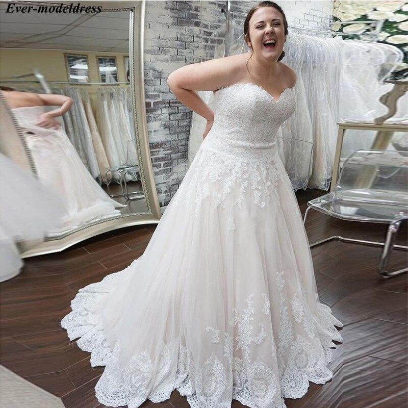 Plus Size Wedding Dresses 2019 Lace Appliques Sweetheart Lace Up Back Bride Dress Bridal Gowns Robe De Mariee