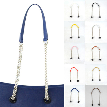 1 Pair Long leather PU Chain Handle Silver Metal Superfiber Leather Flat Handles handle for Obag O Bag Handbag Accessories Hot 1 pair size 72cm bag handles fit for o bag obag handbag