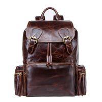 Men Genuine Leather Backpack Laptop Bookbag Casual Drawstring Rucksack Large Capacity Travel Daypack Bagpack