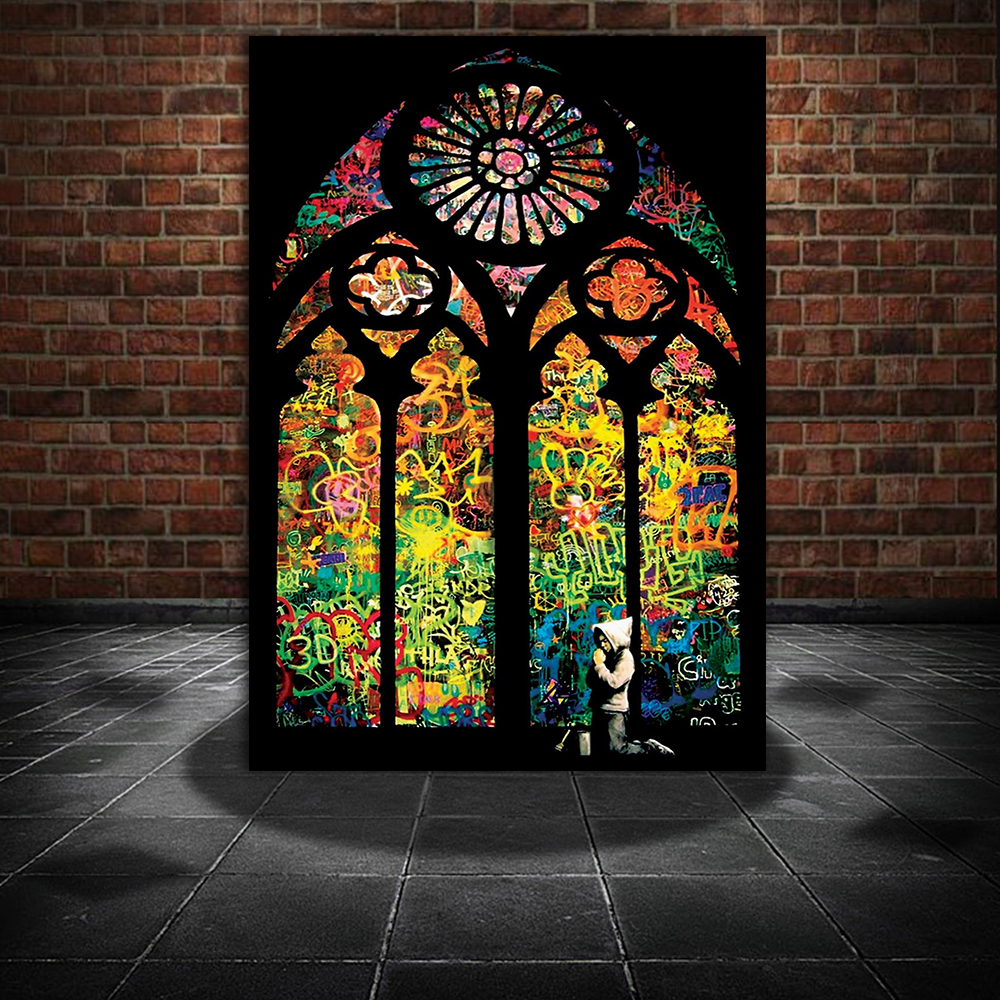 Banksy Stained Glass Window Church Canvas Painting Modern Wall Art Pictures  For Living Room Home Decoration Posters And Prints