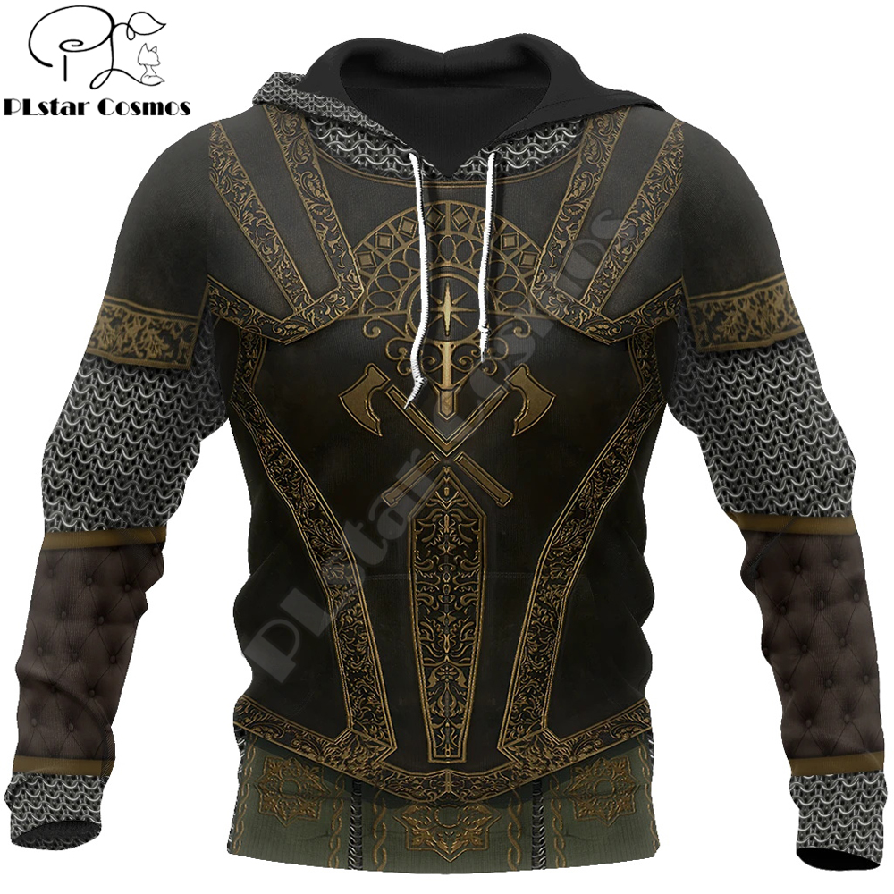 3D All Over Printed Chainmail Knight Armor Hoodie Harajuku Fashion Hooded Sweatshirt Unisex Casual Jacket Cosplay hoodies QS-002