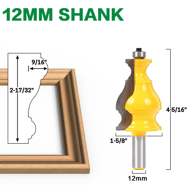 "Image 3 - Large Elegant Picture Frame Molding Router Bit   1/2"" Shank 12mm shank  JGZUI-in Milling Cutter from Tools"
