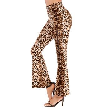 Fashion Leggings Women Leopard Print Skinny Flared Long trousers High Elastic Waist Stretchy Bell Bottom Wide Leg Basic Pants black floral print flared long pants