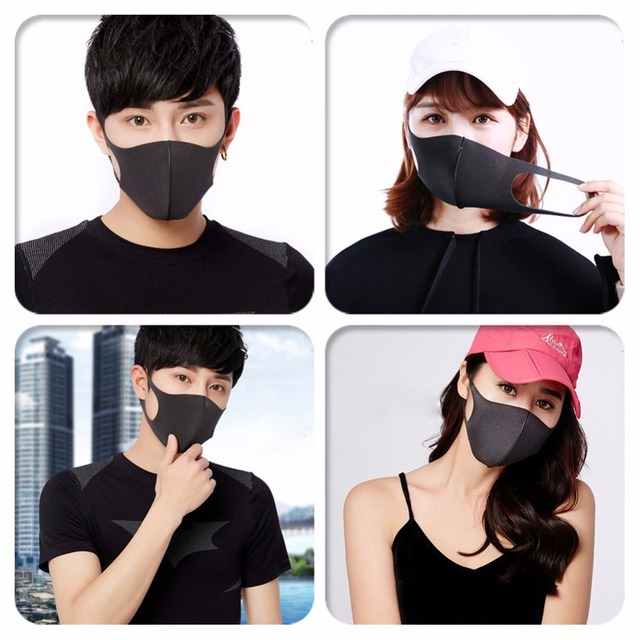 Adult Anti Flu Windproof Mouth Mask 3D Fashion Black Color Reusable Earloop Washable Dust Soft Breathable Anti-virus Face Mask 5