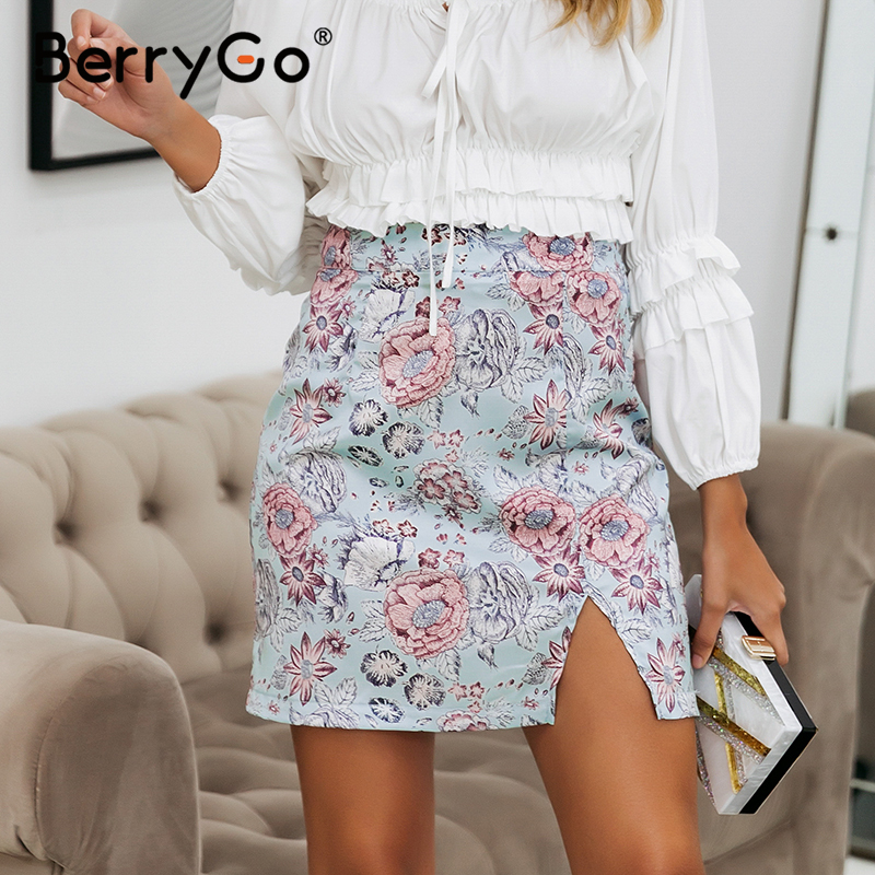 BerryGo Floral Print Satin Summer Skirt Women Sexy Split Short Bodycon Skirt High Waist Bohemian Beach Wear Female Skirt Bottom