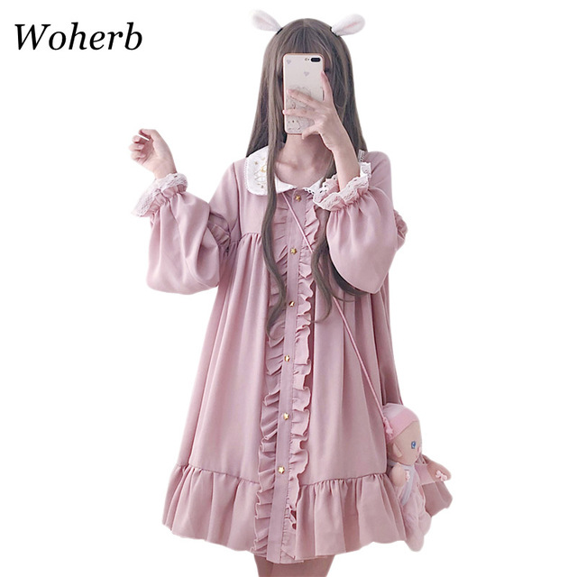 Woherb 2021 Summer Dress Women Harajuku Pink Ladies Ruffle Lace Patch Kawaii Dresses Lolita Cosplay Sweet Loose Vestidos 21092 1
