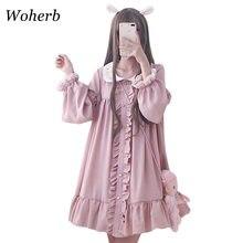 Woherb 2021 letnia sukienka kobiety Harajuku różowe panie wzburzyć koronkowa łatka Kawaii sukienki Lolita Cosplay słodkie luźne Vestidos 21092
