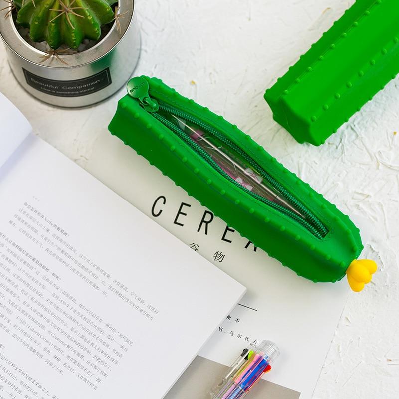 1 Pcs Kawaii Pencil Case Cactus Silicone Gift Estuches School Pencil Box Pencilcase Pencil Bag School Supplies Stationery