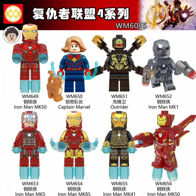 Untuk Legoing Avengers 4 Endgame Captain Marvel To Outrun Iron Man MK50 MK1 MK5 MK85 MK41 Thanos Hulk Blok Mainan Kit WM6055 Legoings