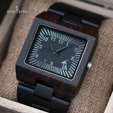 BOBO BIRD الساعات الخيزران خشبية الرجال الساعات الفاخرة العلامة التجارية مستطيل تصميم الخشب الفرقة ساعة للرجال