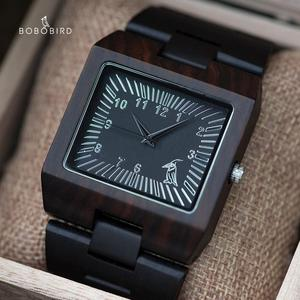 Image 1 - BOBO VOGEL Uhren Bambus Holz Männer Uhren Top Luxus Marke Rechteck Design Holz Band Uhr für männer