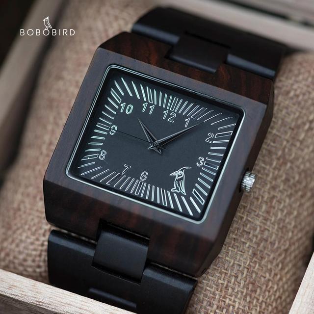 BOBO VOGEL Uhren Bambus Holz Männer Uhren Top Luxus Marke Rechteck Design Holz Band Uhr für männer