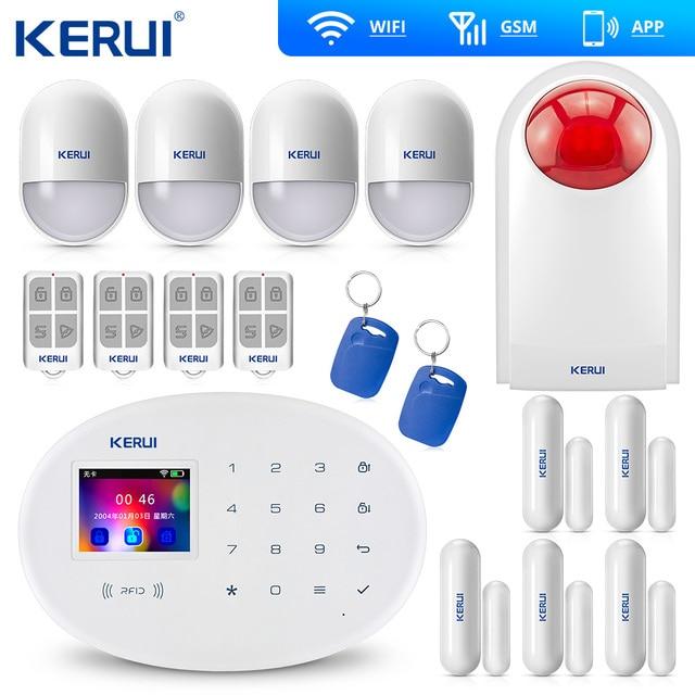 KERUI W20 새로운 모델 무선 2.4 인치 터치 패널 와이파이 GSM 보안 도난 경보 시스템 APP PIR 모션 사이렌 Rfid 제어