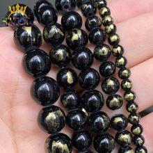 4 6 8 10mm pedra natural preto lapis lazuli jades solto espaçador contas para diy jóias fazendo pulseira brincos acessórios 15''