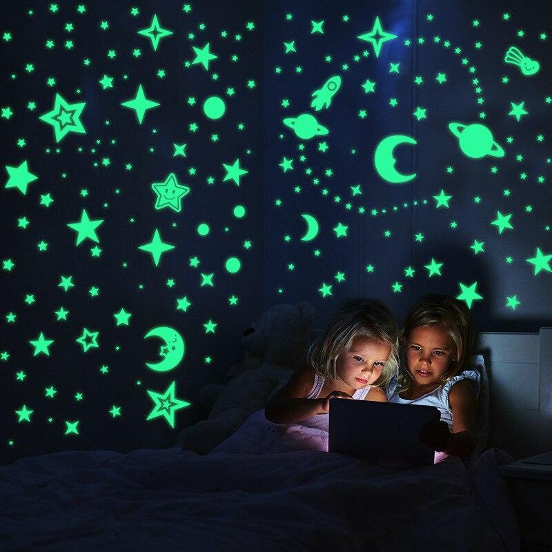 Bolha 3d estrelas luminosas lua pontos adesivo de parede para quarto das crianças decoração para casa brilho no escuro diy adesivos