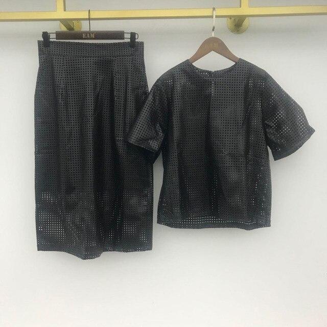 [EWQ]  Women Black Trend O Neck Mesh Hollow Out Leather Short Sleeve Top+High Waist Buttock Skirt Suit Spring Summer  45 5