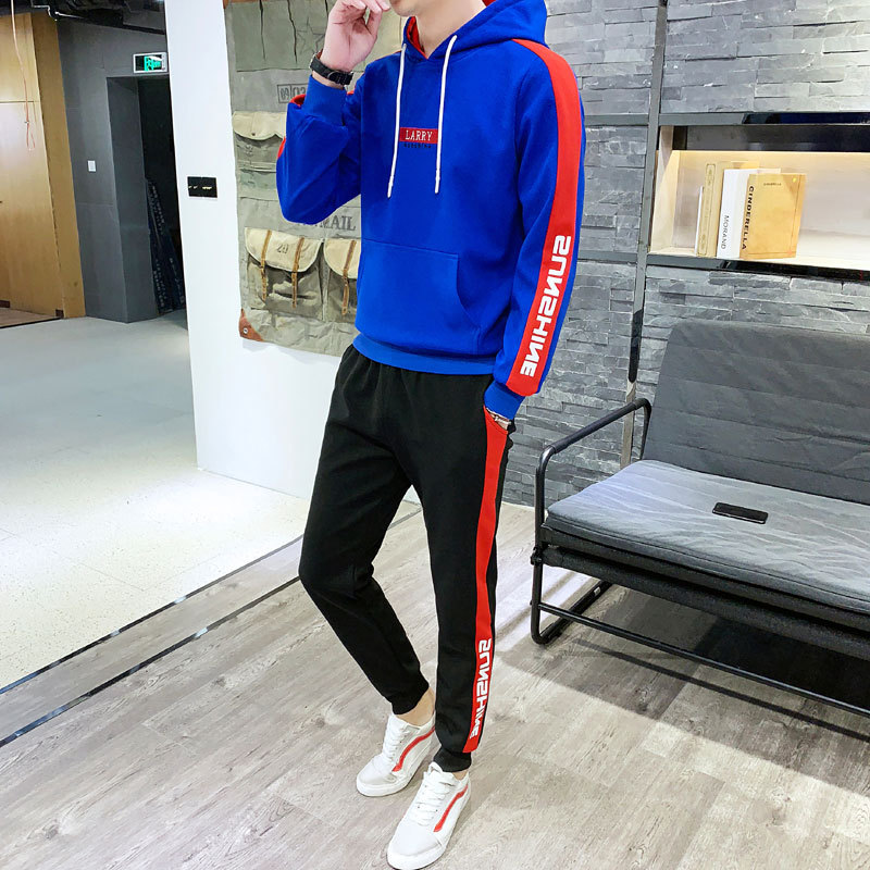 Hoodie Suit Men's 2019 Spring New Style Korean-style Slim Fit Hooded Two-Piece Set Students Sports Clothing Fashion Man Hoodie