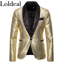 Loldeal Mens Luxury Velvet Rose Feather Floral Blazer Jacket Slim Fit Casual Sprots Coat(China)