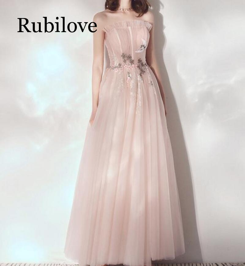 Rubilove Bridesmaid dress female 2019 summer new long party hosted tube top student foreign fairy