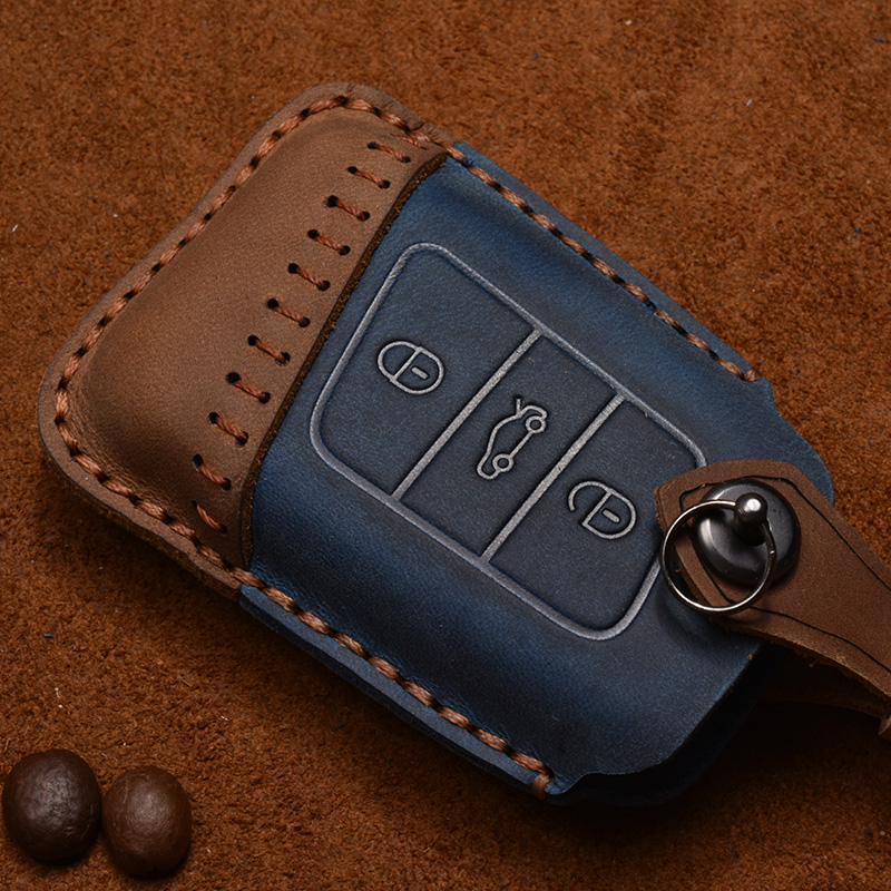 Handmade Genuine Leather Smart Car Key Cover Case Bag for Volkswage for VW PASSAT B8 key