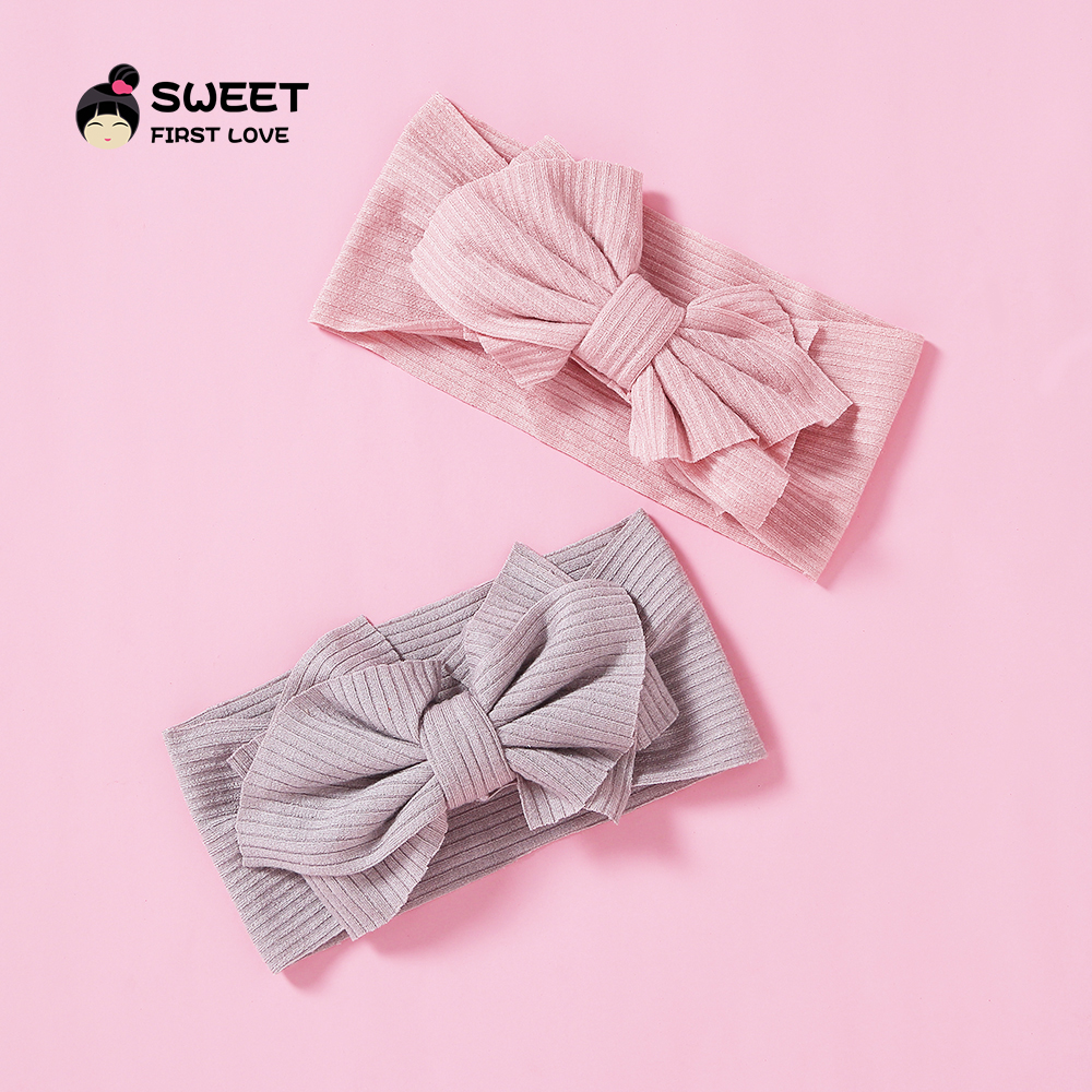 Cute Stretchy Hair Accessories Knitted Bow Headbands For Girls Fashion Elastic Soft Hair Ties Wide Turban Head Wrap Hairbands