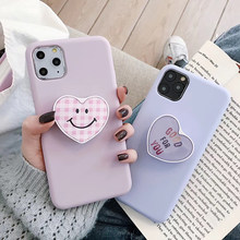 Nieuwe Koreaanse Populaire Liefde Plaid Smiley 3D Vouwen Stand Soft Silicon Telefoon Case Voor Iphone 7 Plus 8 X Xr xs Max 11 Pro Leuke Cover(China)