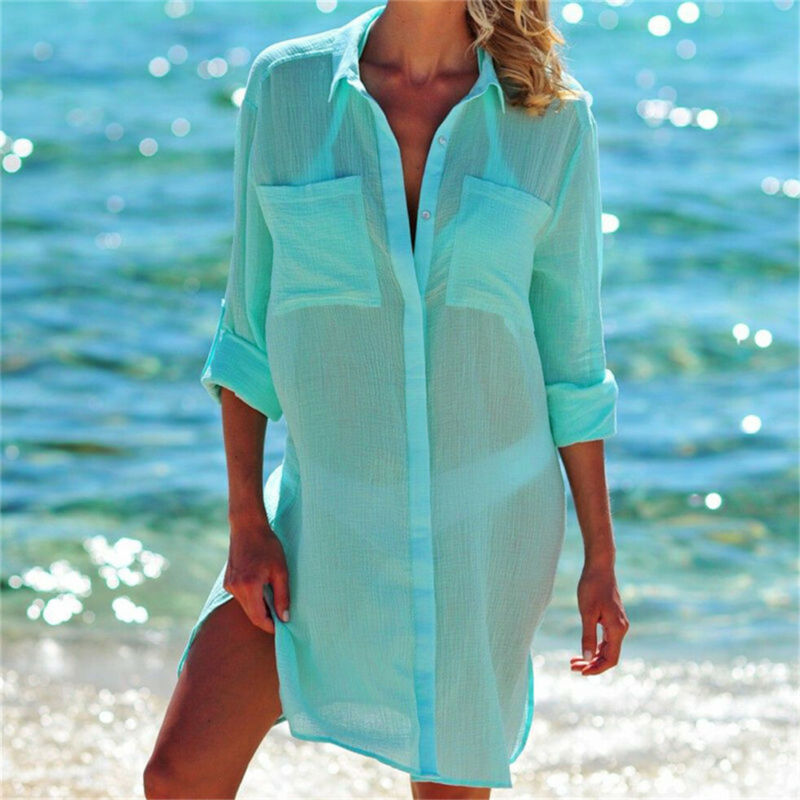 Long Sleeve Baggy Shirts Womens Button Bikini Cover Up Swimwear Swim Bathing Suit Long Tops Summer Beach Mini Dress