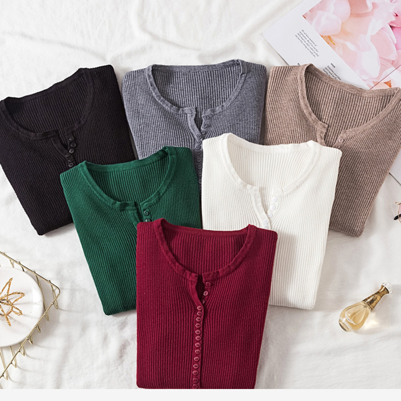 Women Long Sleeve Autumn Winter V Neck Button up Stretchable Pullover Korean Sweater Femme Jersey Knitted Pull Jumper Clothes