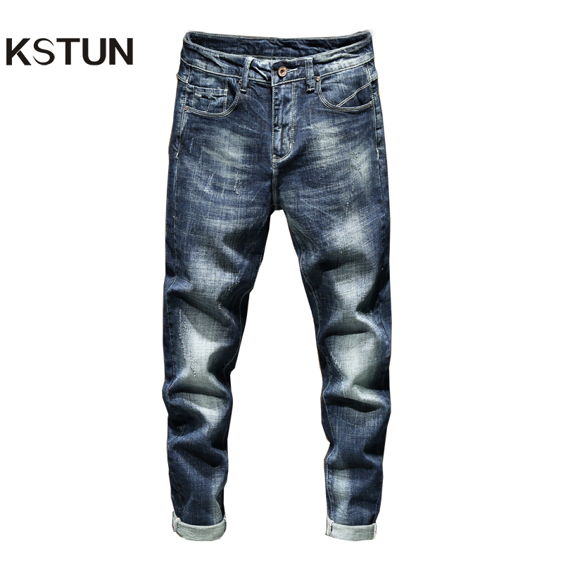 KSTUN Blue Jeans Men Slim Fit Thick Stretch Mens Jeans Man Jeans Brand 2019 Casual Denim Pants Long Trousers Washed Jean Homme