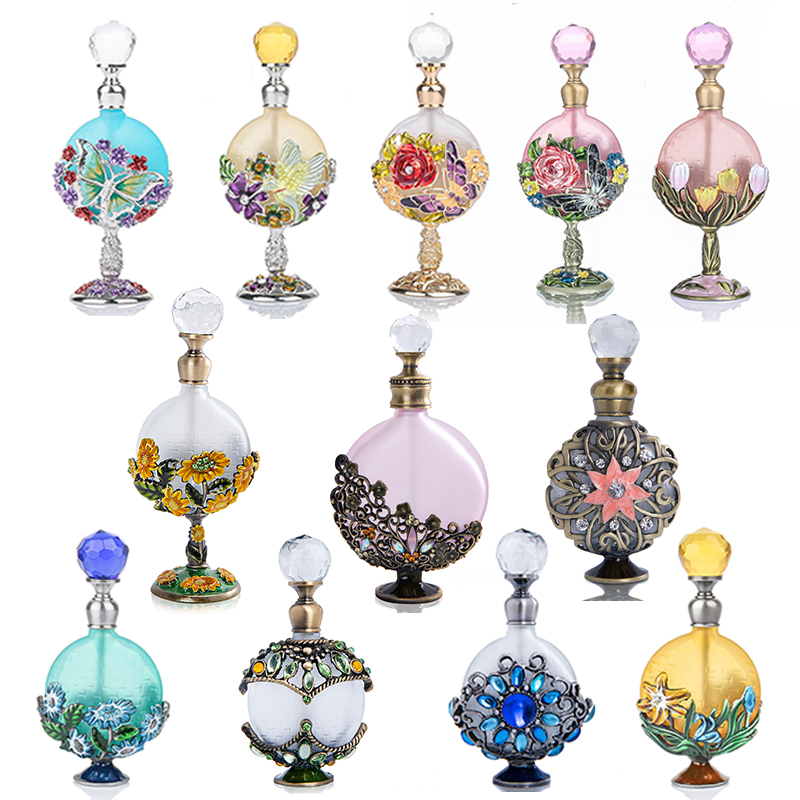 H&D 16 Kinds Antiqued Style Glass Refillable Perfume Bottle Figurine Retro Empty Essential Oil Container Wedding Favors Gift