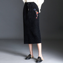 New Fashion Autumn Winter Women Skirts  Black arty Casual Retro Leaf Floral Embroidery Skirt Ladies Pencil Womens