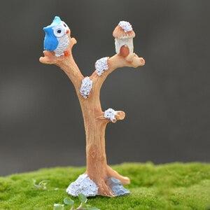 Террариум Мини Пейзаж украшения Ночь Сова моделирование дерево Фея Сад аксессуар микро пейзаж Декор ремесла