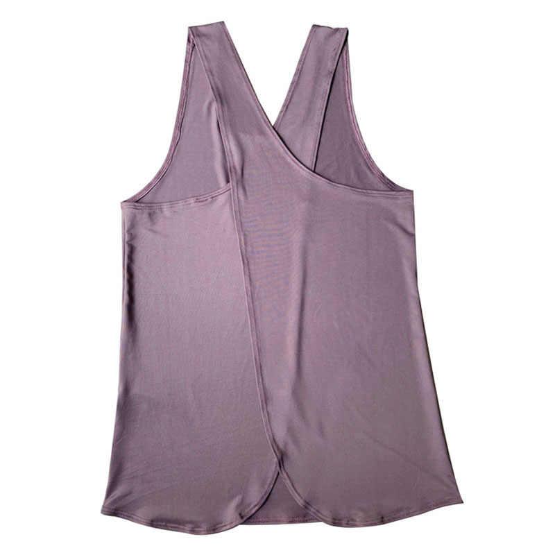 VEQKING النساء الصليب عودة أكمام صدرية رياضة اليوجا اللياقة البدنية الرياضة تانك القمم رياضية القميص سريعة الجافة تجريب تشغيل قميص يوجا