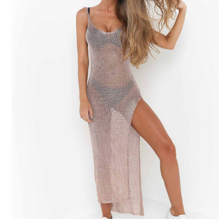 Kaftan Beach Swim Cover Up Swimwear Women Dresses Tunics For The Pareo Mesh Swimsuit 2020 Popular New Gold Sexy Back Neck Long