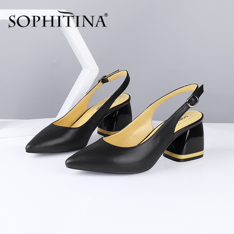 SOPHITINA Summer New Women Sandals Pointed Toe Square Heel High Back Strap Shoes Metal Decoration Sheepskin Mature Sandals C585