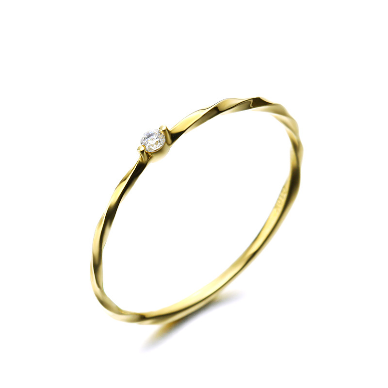 Delicate 9K Pure Real Yellow Solid Genuine Gold Crystal Rings For Women Girl Luxury Exequisite Bands Fine Office Jewelry Gift