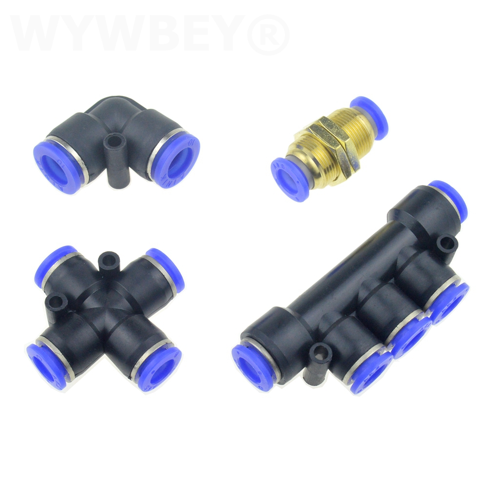 Air Pneumatic Connector Elbow Cross 2 4 5 Way Bulkhead Push In Pipe Fitting 6mm 8mm 10mm 12mm Air Water Hose Tube Quick Coupling