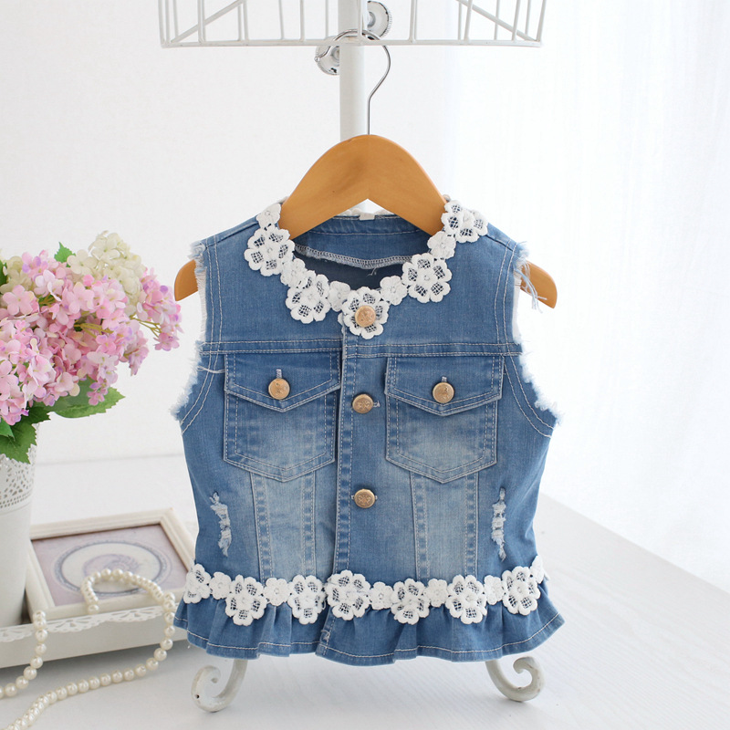 Baby Vests Girls Jeans Denim Lace Waistcoats Outerwear Children Spring Clothes Kids Jackets 0-2Y