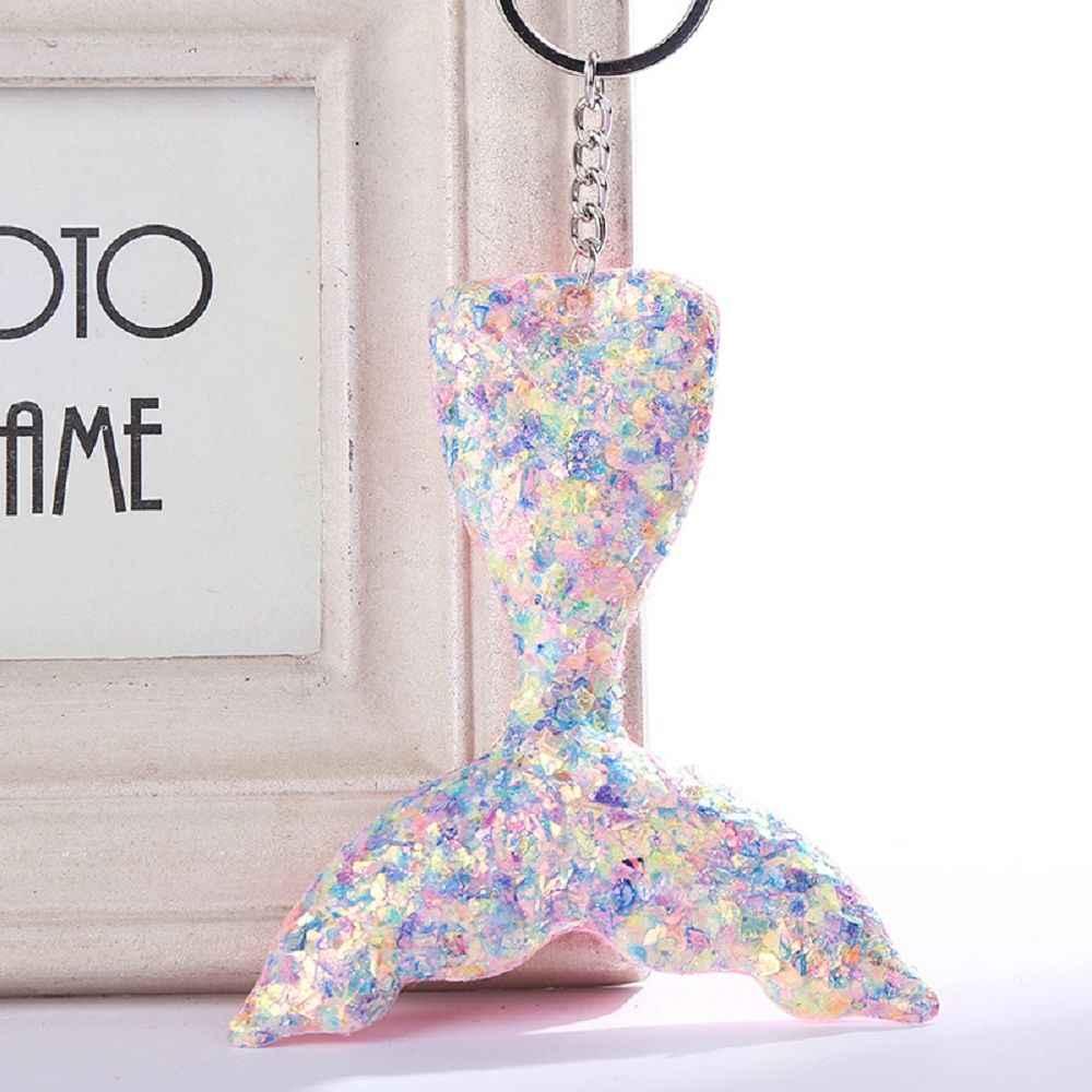 Bonito sereia chaveiro glitter pompom lantejoulas chaveiro presentes para mulheres llaveros mujer encantos saco do carro acessórios chaveiro