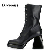 Dovereiss Fashion Women's Shoes Winter Sexy Elegant Concise Cross tied brown Mature Buckle Short boots Square toe big size 43(China)