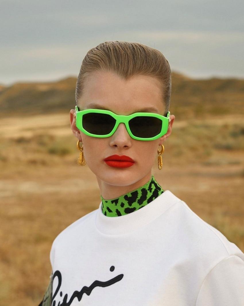 Солнцезащитные очки в прямоугольной оправе для мужчин и женщин, винтажные градиентные солнечные аксессуары в ретро стиле, брендовые дизайн...