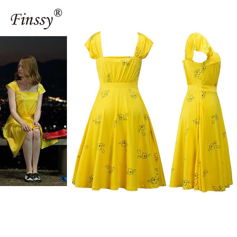 Vestidos Largos De La Land Emma Stone Mia Para Mujer Traje Amarillo Elegante Para Fiesta De Cóctel Para Verano Vestidos Aliexpress