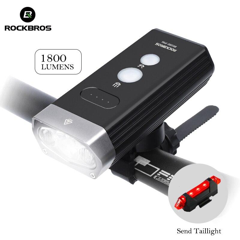 ROCKBROS 1800LM велосипедный фонарь прожектор и фокусировка луч MTB дорожный велосипед Руль передний свет Водонепроницаемая светодиодная лампа для фары power Bank