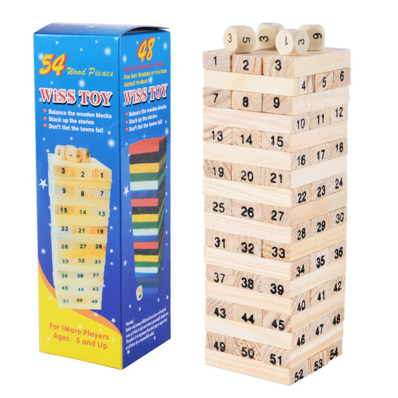 Creative Wooden Digital Jenga Building Blocks Early Educational Game Toy Children Entertainment Intelligence Interaction Toys