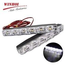 цена на 2pcs LED Car Daytime Running Lights DRL 6 LEDs 12V 6000K 12W Automobile Light Source Car Styling Waterproof Fog Driving Light