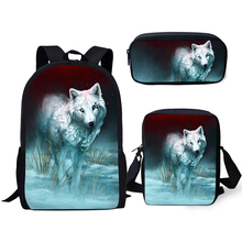HaoYun Kids Backpacks Set Cute Wolf Prints Pattern School Bags Cartoon Animal Print Students 3PCs Backpack/Flaps Bag/Pen Bags цены