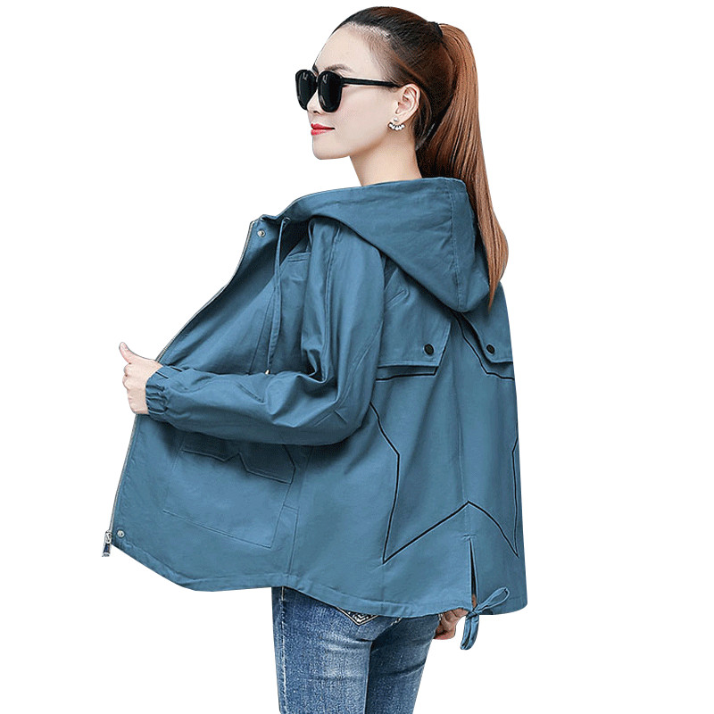 2020 Spring Autumn Women Coat Long Sleeve Windbreak Jacket Hooded Overcoat Female Causal Zipper Basic Jackets Plus Size 4XL P524