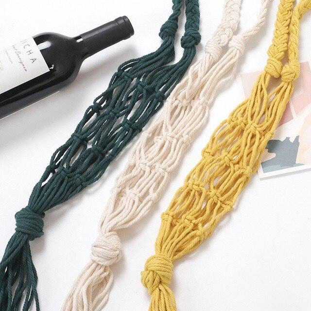Wine Bottle Holder Cotton Water Bottle Bag Wine Bottle Carrier Macrame Bottle Holder Wine Tote Beige