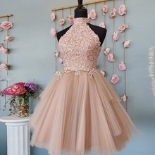 Ball-Gown Dresses Short Tulle Lace Party Mini Woman De Sleeveless High Blush Applique