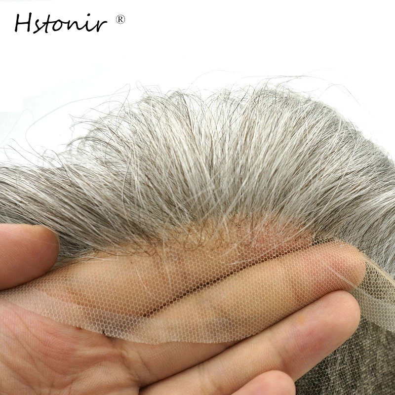 Hstonir White Human Remy Hair Toupee Swiss Lace Slight Wave Light Density Mens Hairpiece System H074